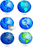 Earth. Blue earth icons with coffee Stock Photo