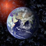 Earth blue planet in space Stock Photos