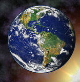 Earth blue planet in space Stock Photo