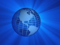 Earth with blue rays. Illustration of earth globe with blue rays Stock Image