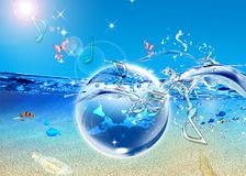 Earth in blue sea Royalty Free Stock Images