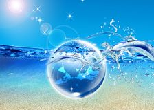 Earth in  blue sea Royalty Free Stock Photos