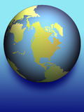 Earth with blue shadow. Earth spotlighted with blue shadow Royalty Free Stock Photography