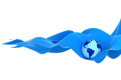 Earth on a blue wave Stock Photo