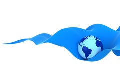 Earth on a blue wave Royalty Free Stock Photo