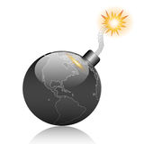 Earth bomb. Burn-Danger-Explosion-Planet-Risk-Terrorist-Time-Bad-Illustration Stock Photo