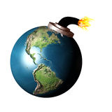 Earth bomb. The earth as a bomb about to explode Royalty Free Stock Images
