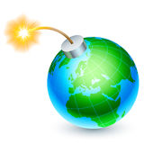 Earth bomb concept. Cartoon bomb in the form of Earth, ready to explode Stock Photography