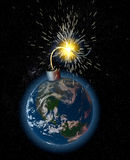 earth bomb continents Royalty Free Stock Photo