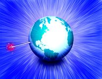 Earth Bomb. Planet Earth like a bomb with a wick Stock Images