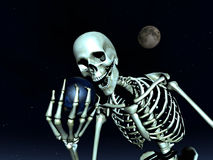 Earth And Bone 10. A computer created image of earth being grabbed by a skeleton  could represent death Stock Photo
