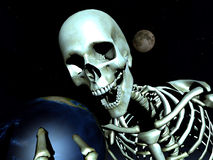 Earth And Bone 11. A computer created image of earth being grabbed by a skeleton  could represent death Royalty Free Stock Photography