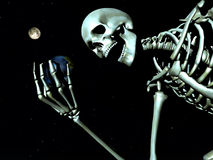 Earth And Bone 12. A computer created image of earth being grabbed by a skeleton  could represent death Royalty Free Stock Photo