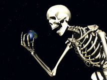 Earth And Bone. A computer created image of earth being grabbed by a skeleton,  it could represent death Royalty Free Stock Photography