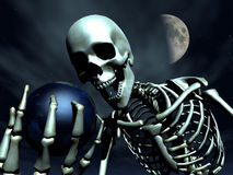 Earth And Bone 8. A computer created image of earth being grabbed by a skeleton,  it could represent death Stock Photography