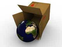Earth in box. Isolated earth in box. High resolution image with detailed texture Royalty Free Stock Photos