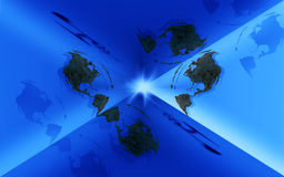 Earth box. Abstract illustration with earth design in a blue background Royalty Free Stock Photography