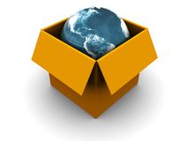 Earth in box Stock Photo