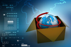 Earth in box in colour background Royalty Free Stock Photo