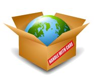 Earth in Box Handle With Care. An illustration featuring the planet Earth sitting in an open shipping box with 'Handle with care' on the side stock illustration