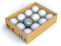 Earth in box with spheres Stock Photography