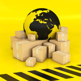 Earth and boxes in black and yellow Stock Images