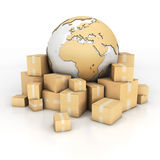Earth and boxes in cardboard texture Stock Photography