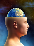 Earth brain. Young male figure has the top of its head removed, showing the Earth in place of its brain. Digital illustration stock illustration