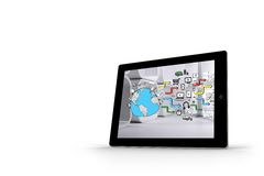 Earth brainstorm on tablet screen Stock Photography