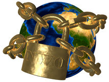 Earth breaking golden chain of NWO. 3D picture of world bound in golden chain. Theme of conspiracy theories, New World Order (NWO Stock Photo