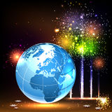 Earth and Brightly Colorful Vector Fireworks and S. Abstract background with world globe. Salute- vector isolated on black background Royalty Free Stock Images