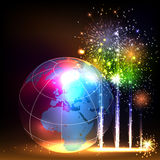 Earth and brightly colorful vector fireworks Stock Photography