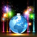Earth and brightly colorful vector fireworks. Brightly Colorful Vector Fireworks and Salute round earth. Vector isolated on black background Royalty Free Stock Image