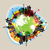 Earth building circle drawing Stock Photo