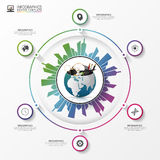 Earth with building city. Business infographic concept. Vector Stock Images