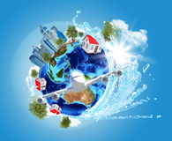 Earth with buildings and airplane Royalty Free Stock Image
