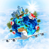 Earth with buildings and airplane Stock Photo