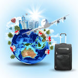 Earth with buildings, airplane and voyage bag Royalty Free Stock Photos