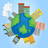 Earth with buildings and factories Royalty Free Stock Images