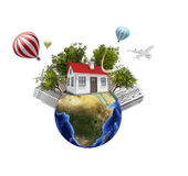 Earth with buildings. Isolated on white background Stock Photography