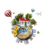Earth with buildings. Isolated on white background Royalty Free Stock Photos