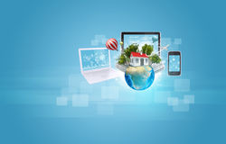 Earth with buildings and laptop, tablet, Stock Image