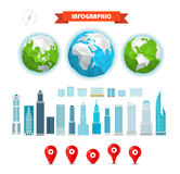 The Earth and buildings and pins Stock Image
