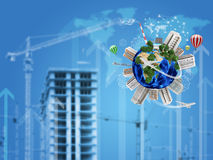 Earth with buildings on surface. Construction site Royalty Free Stock Photos