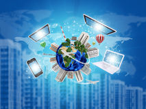 Earth with buildings on surface. Laptop, tablet pc Stock Photography