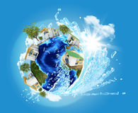Earth with buildings and water Royalty Free Stock Images