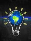Earth Bulb Idea. Digital Drawing Stock Photography