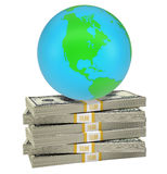 Earth on bundle of money Royalty Free Stock Images