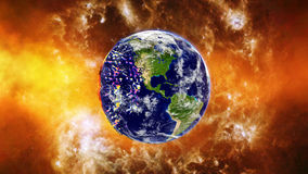 Earth burning or exploding after a global disaster, Apocalypse asteroid impact globe. Royalty Free Stock Photos
