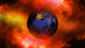 Earth burning or exploding after a global disaster, Apocalypse asteroid impact globe. Stock Photos
